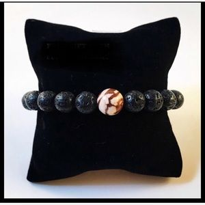 Men genuine lava rock & zebra jasper bead bracelet